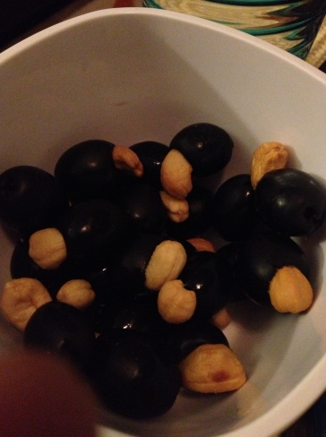 NoBread snack.  Black olives stuffed with cashews