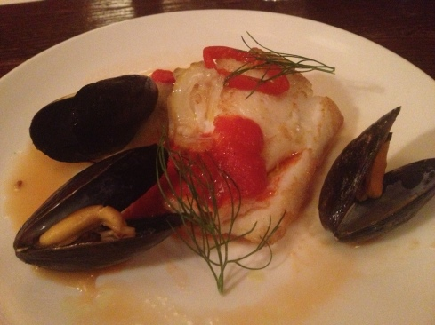 Pan Roasted Cod with 3 PEI Mussels, Fellel and Piquillo Pepper