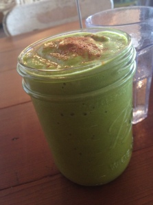 Avocado, mango, cilantro, apple smoothie.  Was a little like liquid guacamole.