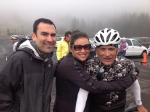 Niko, me, and Niko's dad.  He just finished his race at the National Cycling Championships (Masters 65-69).  COLD DAY!